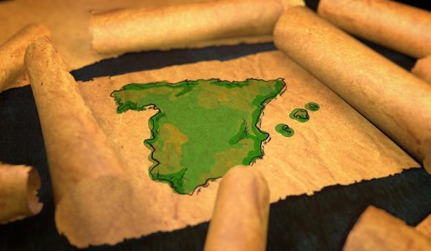 Lukisan peta Spanyol berlangsung gulungan kertas tua Foto Premium 3d