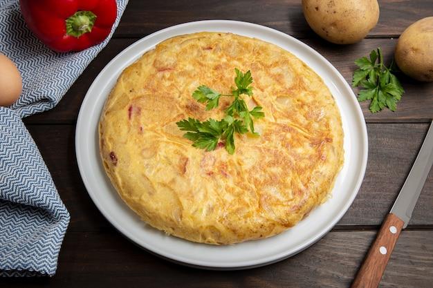 Spanish potato omelette called spanish tortilla Premium Photo