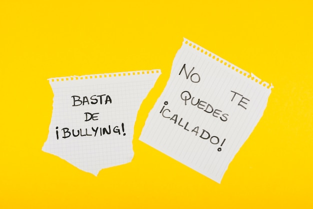 Spanish slogans against bullying on school paper Free Photo
