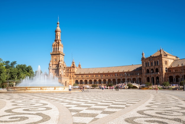Spanish square plaza de espana in sevilla in a beautiful summer day, spain. Premium Photo