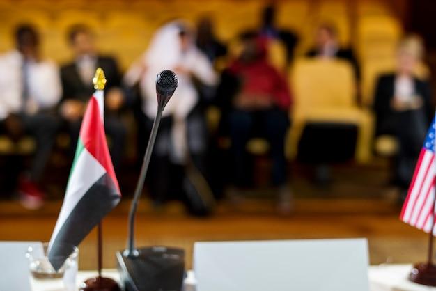 Speaker presentation international conference partnership Premium Photo