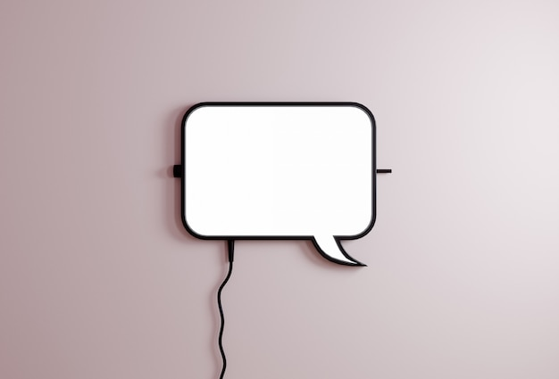 Speech baloon bubble sign on light pink background. communication concept.chats icon 3d rendering Premium Photo