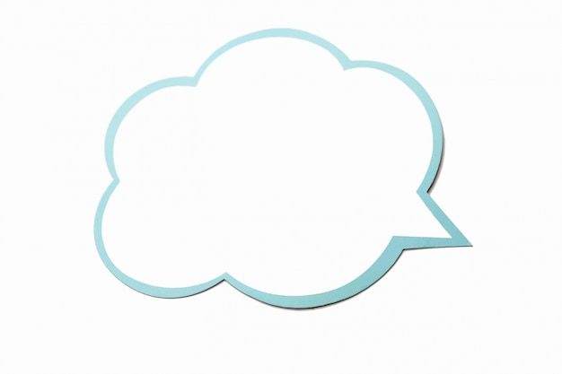Speech bubble as a cloud with blue border isolated Premium Photo