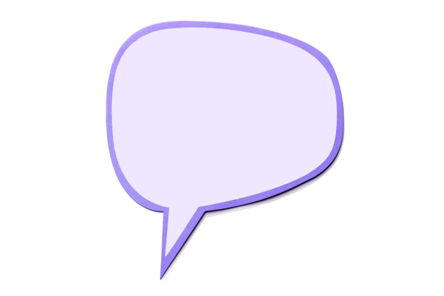 Speech bubble as a cloud with pink border isolated on white Premium Photo