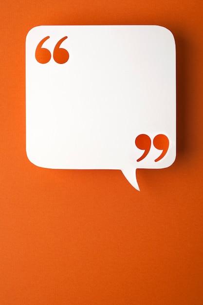 Speech bubble on orange Premium Photo