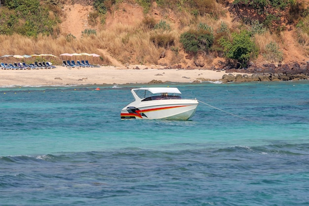 Speed boat stop on sea at koh lan in thailand Premium Photo