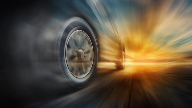 Speeding car on the road Premium Photo