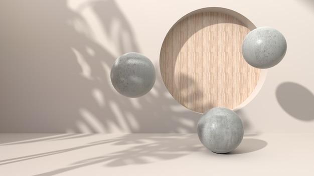 구형 형상 콘크리트 크림 색 추상적 인 배경에 드릴 구멍 나무 라운드 퍼 팅. 그림자 잎으로 장식되어 있습니다. 화장품 선물용. 3d 렌더링 프리미엄 사진