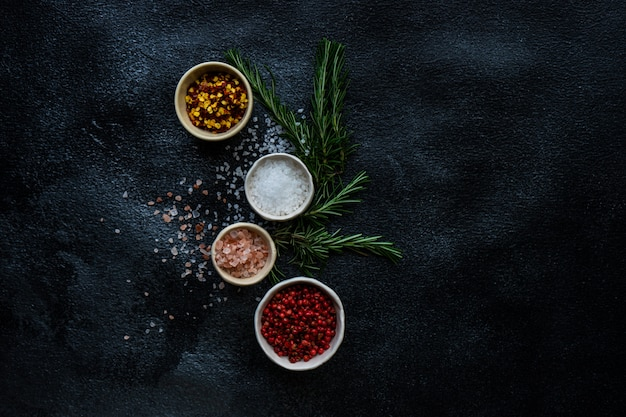 Spice cooking concept with sea salt Premium Photo