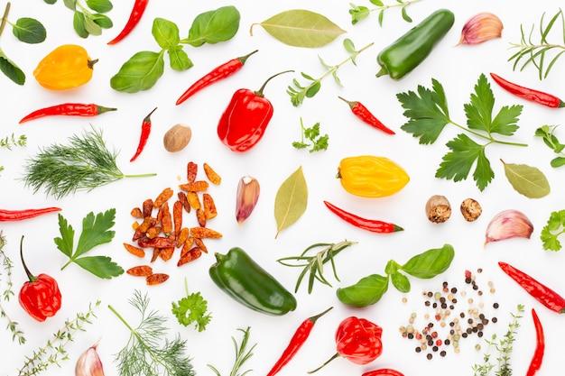 Травяные листья специй и перец чили на белом. образец овощей. цветочные и овощи на белом. вид сверху, плоская планировка. Premium Фотографии