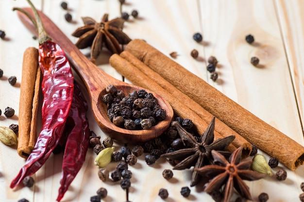 スパイスとハーブ。食品と料理の食材。木製の表面にシナモンスティック、アニススター、黒胡椒、チリ、カルダモン、クローブ Premium写真