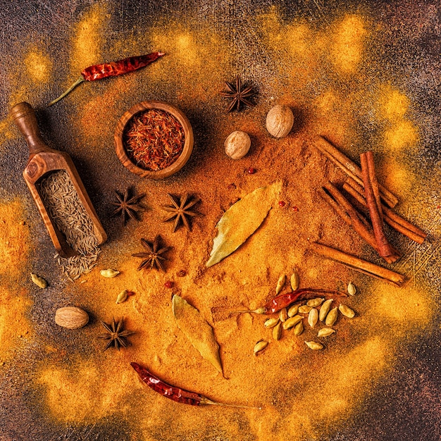 Spices ingredients for cooking. spices concept. top view. Premium Photo