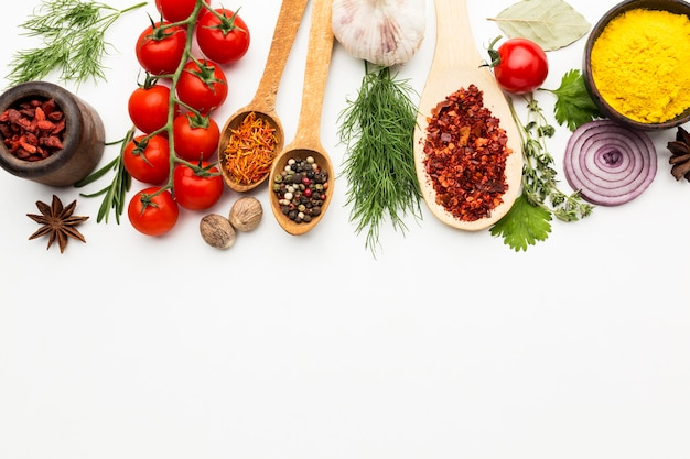 Spices and ingredients on table with copy-space Free Photo