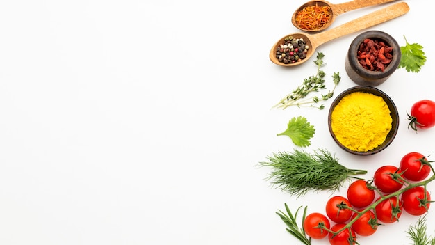 Spices and ingredients with copy-space Free Photo