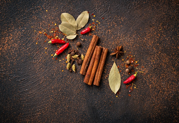 Spices masala for cooking indian dishes Premium Photo
