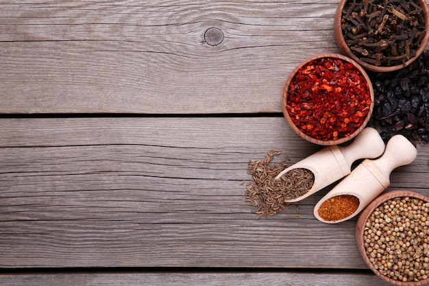 Spices mix on wooden spoons on a grey wooden background. top view Premium Photo