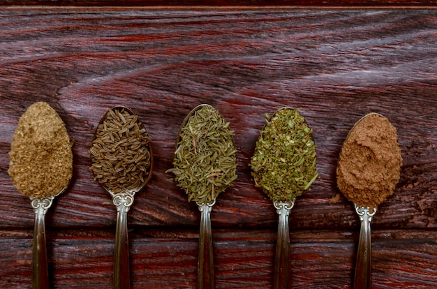 Spices in spoons - coriander, cumin, thyme, provencal herbs, ground nutmeg Premium Photo