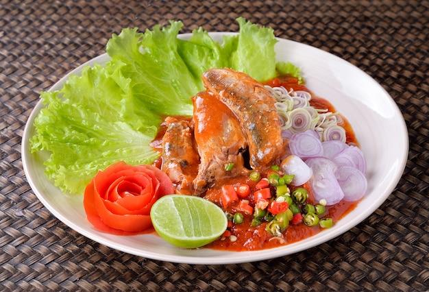 Spicy fish canned sardines salad,thai food Premium Photo