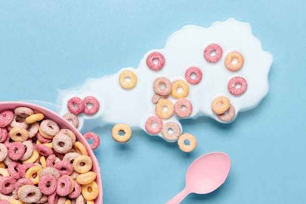 Spilled milk and cereals in the bowl top view Free Photo