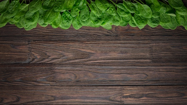 Spinach background of fresh and salty spinach leaves with copy space on a wooden table. Premium Photo