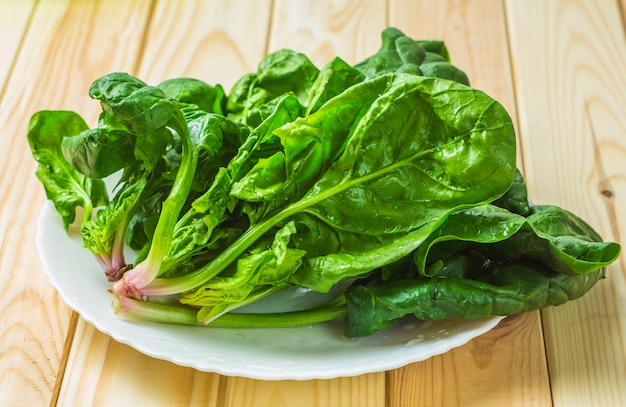 Spinach in a plate. Premium Photo