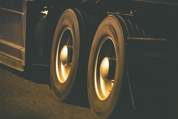 Spinning truck wheels Free Photo