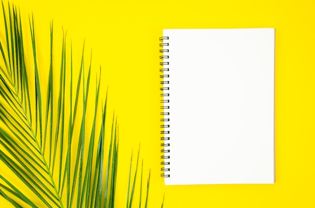 Spiral notepad with tropical palm leaf on yellow background Premium Photo
