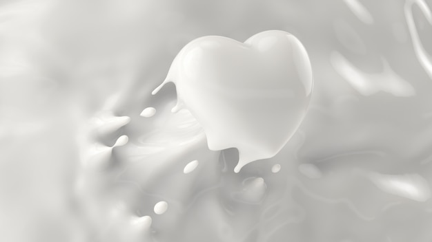 Splash of milk, splashing into a heart shape, for valentine or love concept, 3d rendering, 3d illustration. Premium Photo