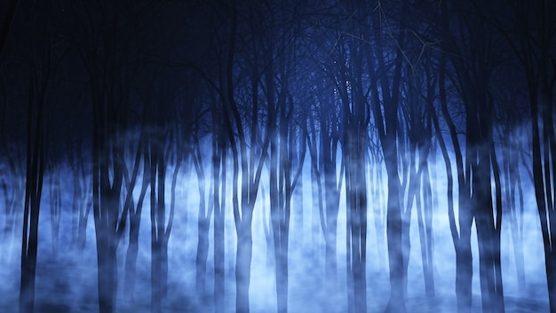 Spooky foggy forest Free Photo