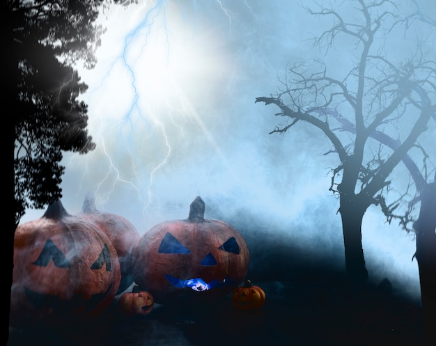Spooky halloween pumpkin at foggy dark forest with lightning Free Photo