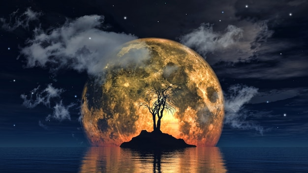 Spooky tree against a big moon Free Photo