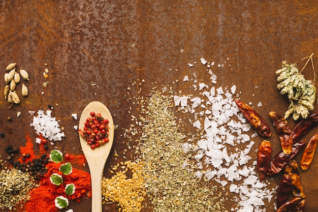 Spoon near spilled spices Free Photo