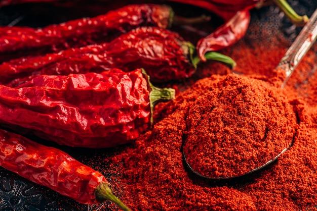 Spoonful of ground red chili pepper Premium Photo