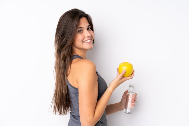 Sport girl over isolated wall Premium Photo