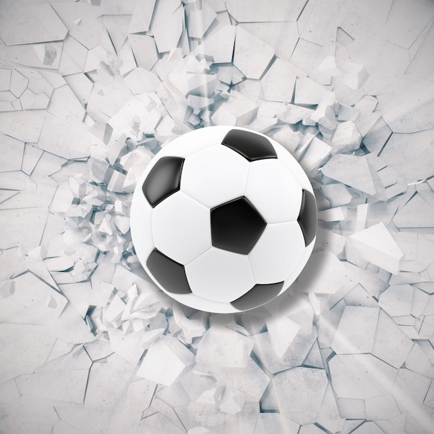 Sport illustration with soccer ball coming in cracked wall. Premium Photo