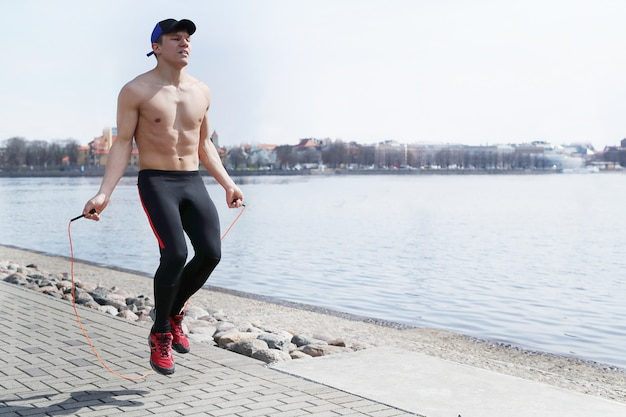 Sport man in outdoor streets Free Photo