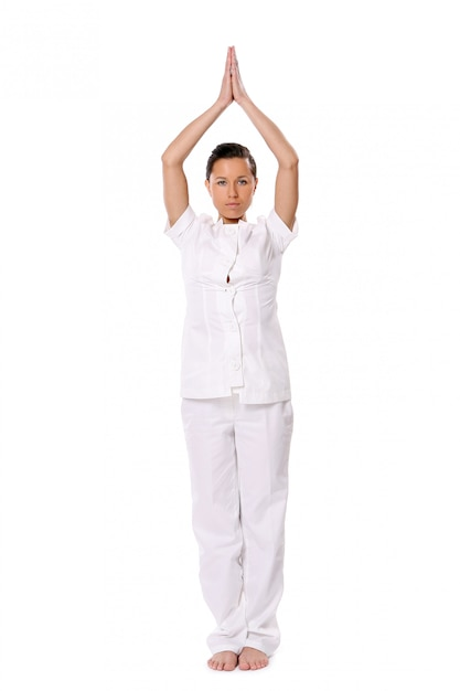 Sport woman doing yoga exercise Free Photo