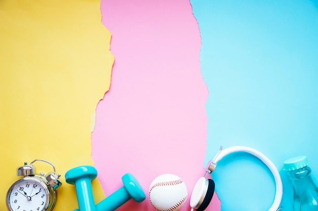 sports equipment on paper background photo free download
