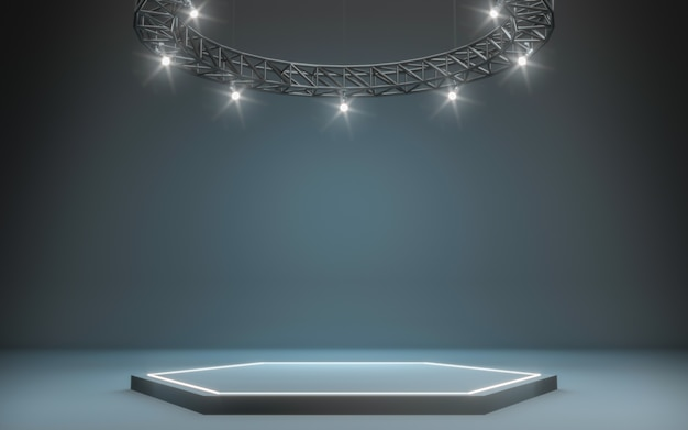 Spotlight background and lamp with stage  3d rendering Photo