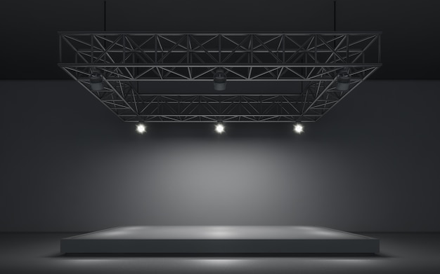 Spotlight background and lamp with stage Premium Photo