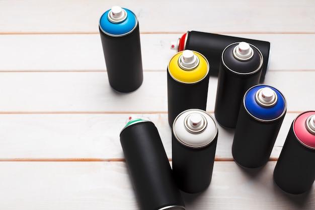 Spray paint cans close up Premium Photo