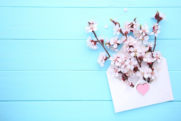 Spring blooming branches in envelope on blue wooden background with copyspace. Premium Photo