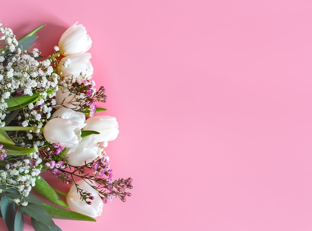 Spring flower arrangement on a pink wall Free Photo