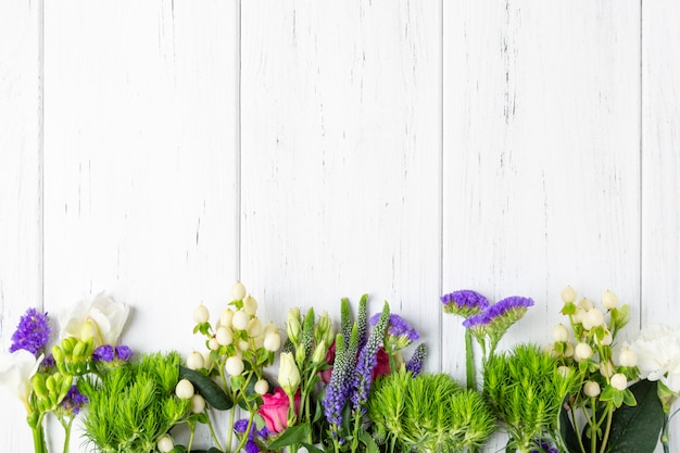 Spring flowers background with copy space Premium Photo