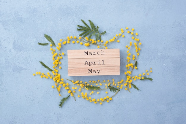 Spring months with floral frame Free Photo
