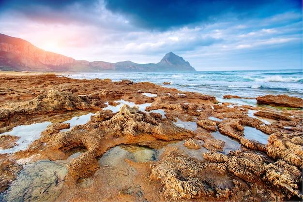 Spring panorama of sea coast city trapany Premium Photo