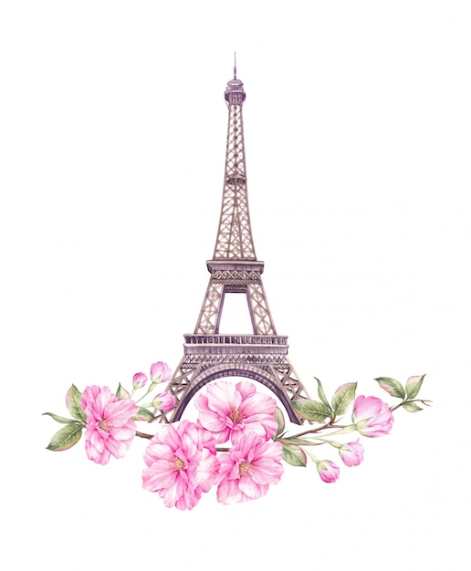 Spring paris illustration. Premium Photo