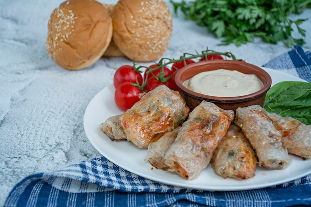 Spring roll with meat and vegetables with sauce. Premium Photo