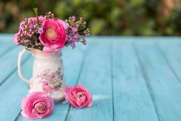 Spring Scene With Vase And Flowers In Pink Tones Photo Free Download