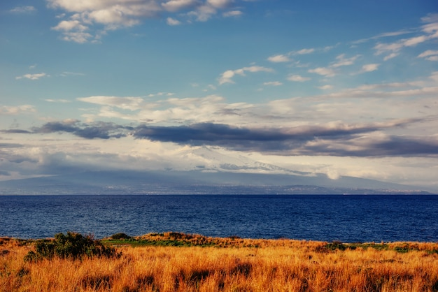 Spring view of the coast at sunset city trapani. sicily Premium Photo